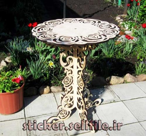 دانلود الگوی برش میز چوبی-کد2070